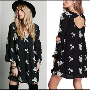 Free People Black & White Floral Embroidered Dress
